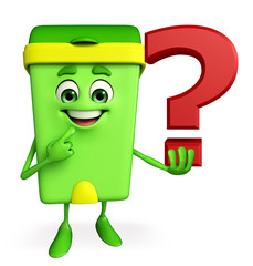 Dustbin Character with question mark