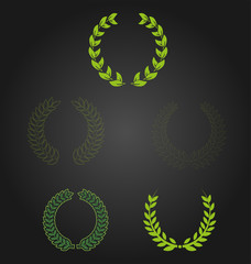 Green vector laurel wreaths
