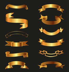 Golden Ribbons Vector illustration