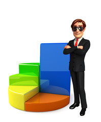 Young Business Man with business graph