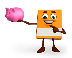 Book Character with piggy bank