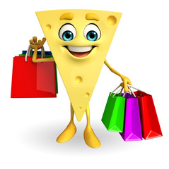 Cheese Character with shopping bags