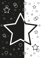 abstract black and white background with stars