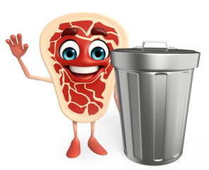 Meat steak character with dustbin