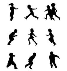 Set of Children Silhouettes Running