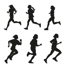 Running Girls Set of Silhouettes