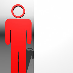Red 3D character and white presentation board