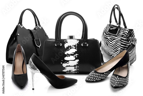 Black and white women shoes and handbag