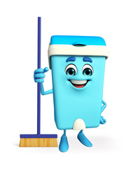 Dustbin Character with cleaning mop
