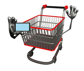 The trolly charecter with mobile