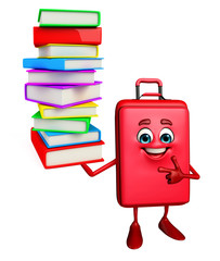Traveling bag Chatacter with Books pile