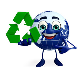 Globe Character with recycle sign