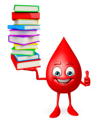 Blood Drop Character with pile of books