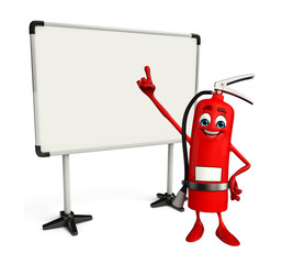 Fire Extinguisher character with display board