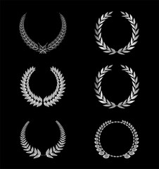 Silver Laurel Wreath set, silver laurel wreath on the black