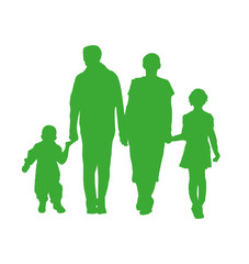 Silhouettes of young family