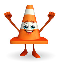 Construction Cone Character with happy pose