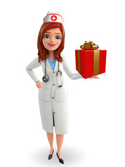 Nurse Character with gift box