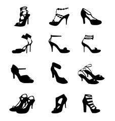 Women Sandals Vector Set Icon