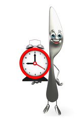 Knife character with table clock