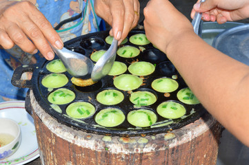 khanom khrok or Thai sweetmeat pancake