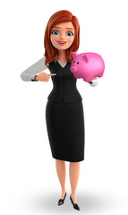 Young Business Woman with piggy bank