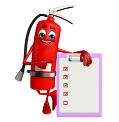 Fire Extinguisher character with notepad
