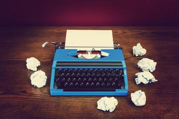old blue typewriter