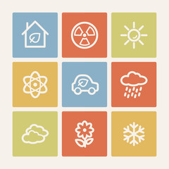 Ecology web icon set 2, color square buttons