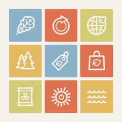 Ecology web icon set 3, color square buttons