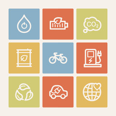 Ecology web icon set 4, color square buttons