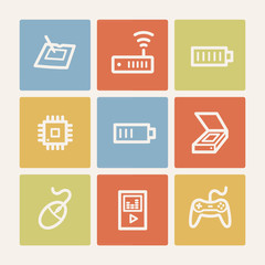 Electronics web icon set 2, color square buttons