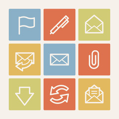 E-mail web icons, color square buttons