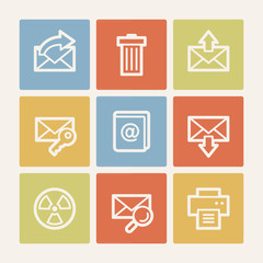E-mail web icon set 2, color square buttons
