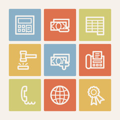 Finance web icon set 2, color square buttons