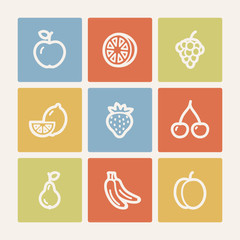 Fruits web icons, color square buttons