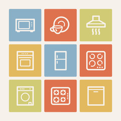 Home appliances web icons, color square buttons