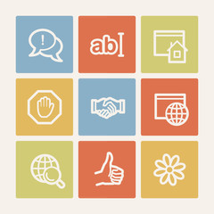 Internet web icon set 1, color square buttons
