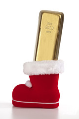 Nikolausstiefel mit Goldbarren gefüllt