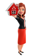 Young Corporate lady with home