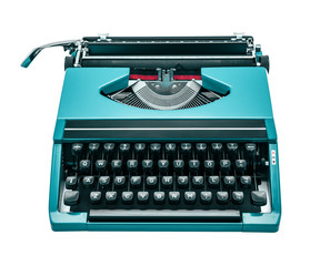light blue typewriter