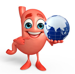 Cartoon Character of stomach with globe