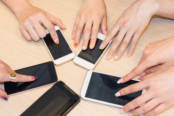 cellphones on desk
