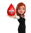 Young Business Woman with blood drop