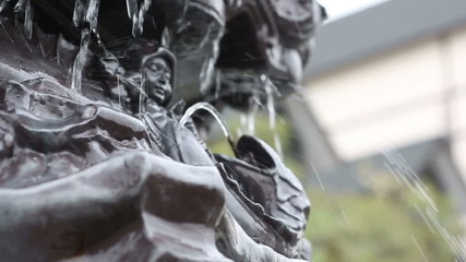 Close up Detail of water fountain, Shift Focus HD VDO