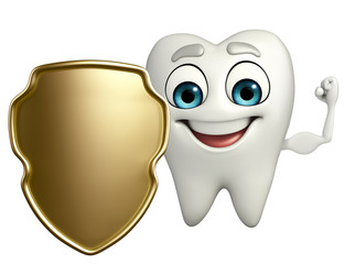 Teeth character with shield