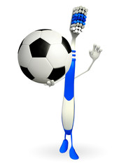 Toothbrush Character with football