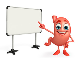 Cartoon Character of stomach with display board