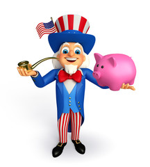 Uncle Sam with piggy bank
