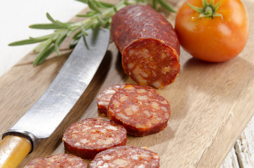 sliced spanish chorizo​​, tomato and rosemary
